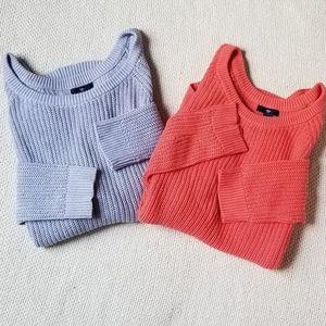 Blue & Coral GAP Cozy Chunky Knit Sweater Bundle